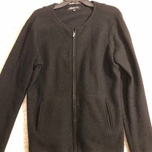 Jones of NY L black merino wool sweater cardigan